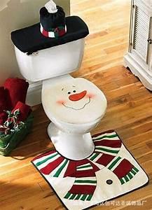 christmas decoration snowman toilet seat cover set With snowman bathroom decor