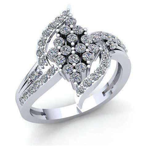 real 2carat cut diamond bridal cluster anniversary engagement ring solid 18k rose
