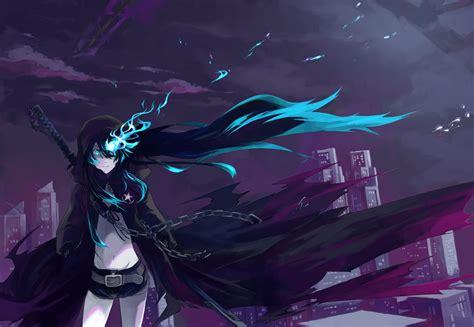 anime black rock shooter blue eyes long hair girl anime