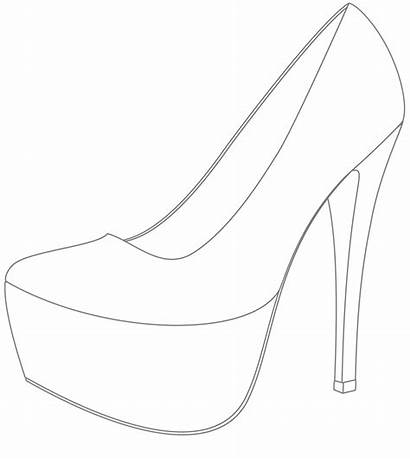 Stiletto Drawing Shoe Template Drawings Paintingvalley