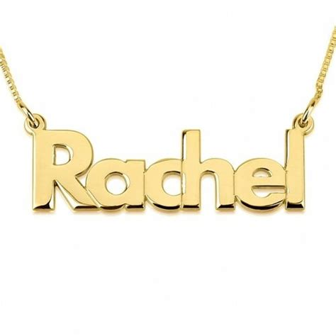 gold plated personalized block letters  necklace