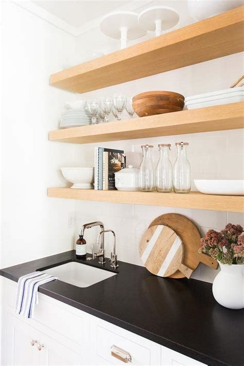 butler pantry  blond floating shelves transitional