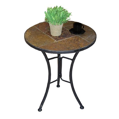 Round Slate Top End Table Dcg Stores