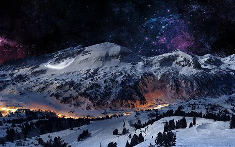 graceful winter berg nacht hintergrundbilder graceful