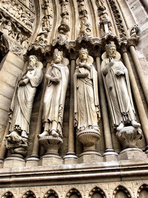 portal sculptures  notre dame cathedral stock photo