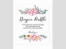 Floral baby shower sign for diaper raffle tickets