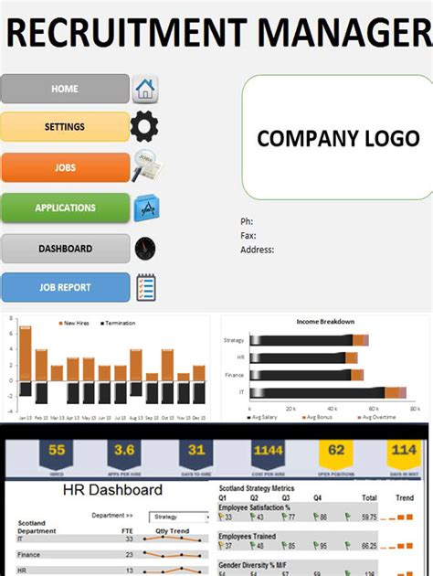 recruitment manager excel template dashboard tracking