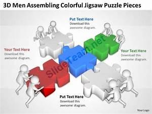 3d Men Assembling Colorful Jigsaw Puzzle Pieces Ppt