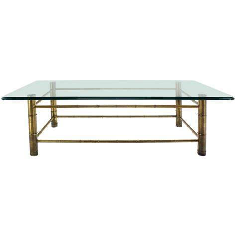 Faux Bamboo Glasstop Coffee Table, Midcentury Modern At