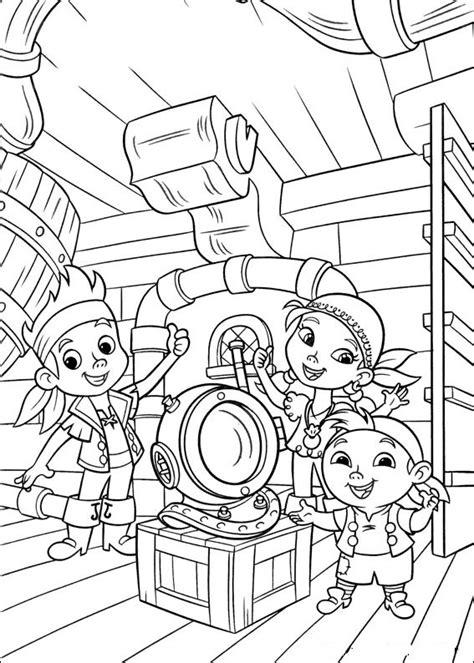 coloriage les enfants sur bateau des pirates dessin