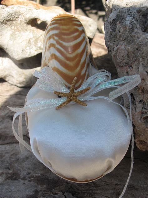 Tiger or Pearl Nautilus Shell Ring Bearer Pillow for Beach