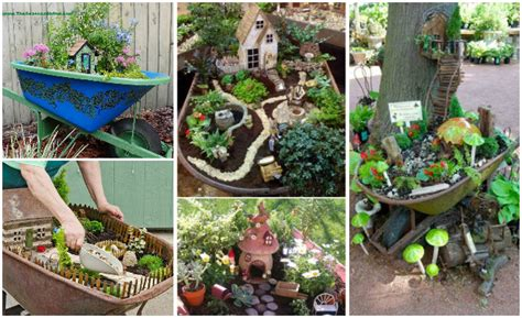 diy miniature wheelbarrow fairy garden ideas  projects