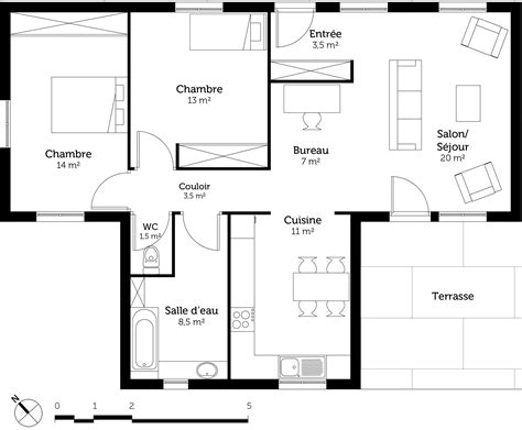 implantation cuisine ouverte plan maison de plain pied toit plat ooreka