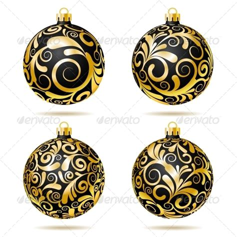 set of black and gold christmas decorations by tassel78