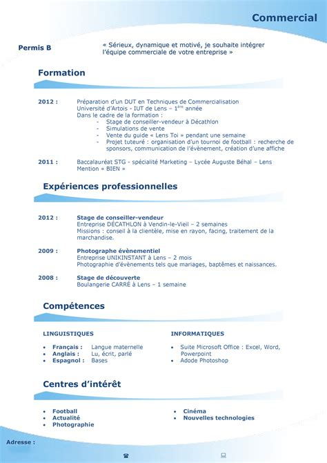 Exemple De Cv étudiant by Cv Etudiant Stg
