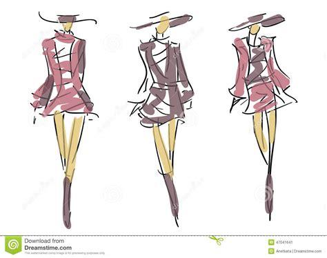 sketch fashion poses stock illustration image