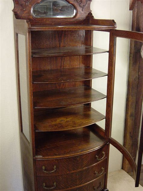 Very Rare Small Oak Curio Cabinet With 3 Drawers