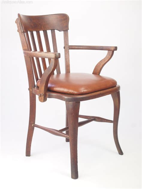 Oak Desk Chair With Leather Seat  Antiques Atlas