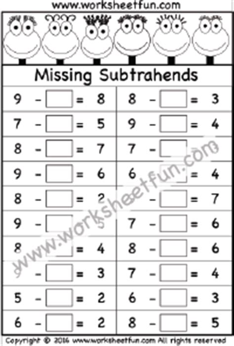 Subtraction  Missing Subtrahends  Free Printable Worksheets Worksheetfun