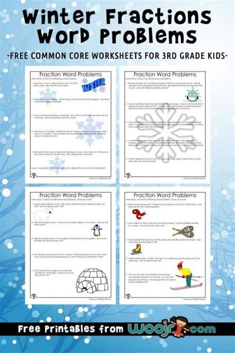 winter fractions word problems worksheets   grade