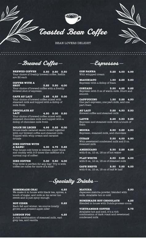 streamlined coffee menu design templates  musthavemenus