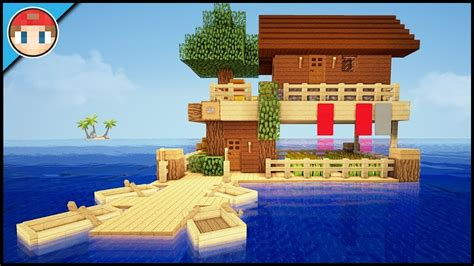minecraft   build  starter survival house  water tutorial easy floating house