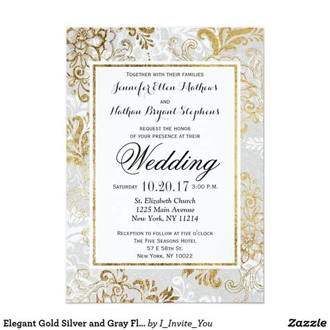 elegant gold silver  gray floral wedding invite