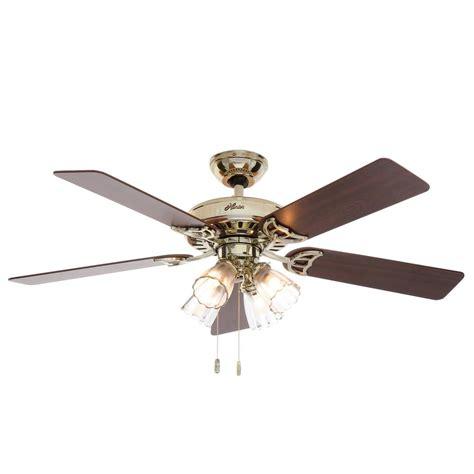 home elegance ceiling fan 52 hunter studio series 52 in indoor bright brass ceiling