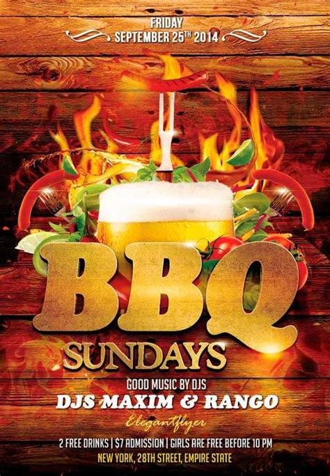 barbecue party  flyer psd template  psd