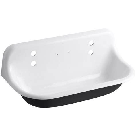 cast iron wall hung sink shop kohler 17 5 in x 36 in white wall mount cast iron