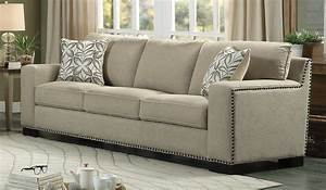 Homelegance gowan sofa set chenille beige 8477nf 3 for Beige chenille sectional sofa
