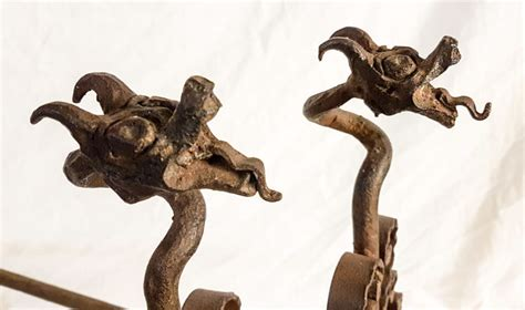 Cast Iron Chimera by Pair Of Andirons In Cast Iron Chimera Gargoyles Early