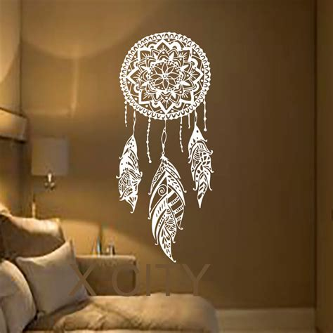stickers chambre adulte catcher feather vinyl sticker boho dreamcatcher