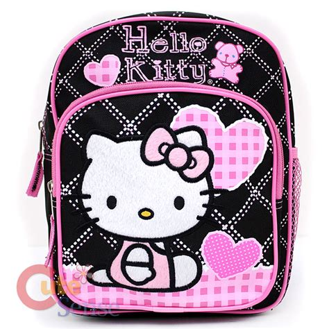 sanrio hello kitty school backpack toddler bag 10 quot 440 | Sanrio Hello Kitty school Toddler bag Mini Backpack black pink Love Teddy Bear 1