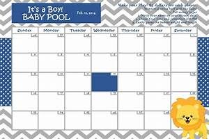 Customize Baby Calendar For Baby Shower Pool Game Lion Theme