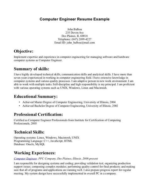 Career Objective For Resume Computer Engineering by Sle Computer Engineering Resume Resume Cover Letter