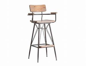Chaise De Bar Avec Accoudoir : chaise de bar industrielle avec dossier et accoudoirs ~ Teatrodelosmanantiales.com Idées de Décoration