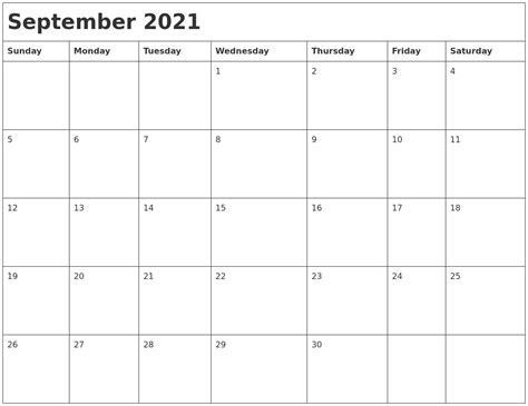 september  month calendar