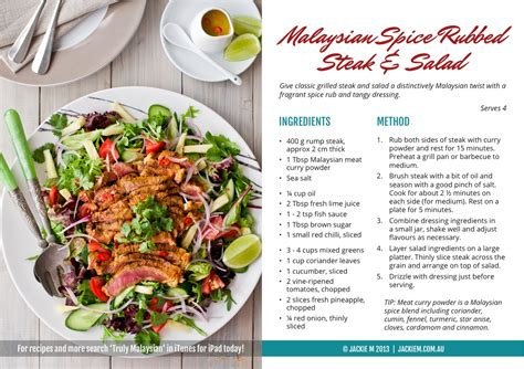 on the recipe jackie m recipe card 1 malaysian spice rubbed steak salad jackie m