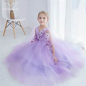 Purple Princess Flower Girl Wedding Dress Piano