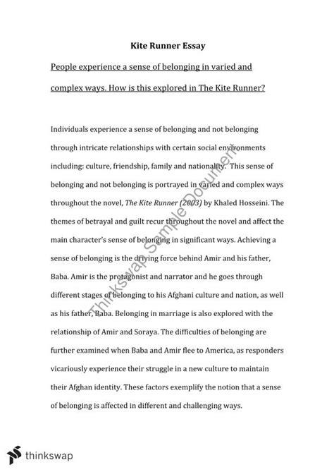 Kite Runner Essay   Year 11 HSC - English (Advanced