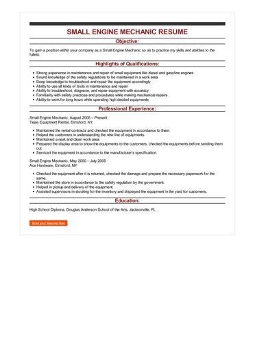 Resume Engine by Sle Small Engine Mechanic Resume