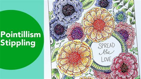 pointillism stippling time lapse tombow adult coloring