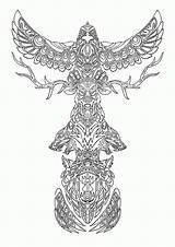 Coloring Pages Native American Designs Printables Totem Pole Printable Popular sketch template
