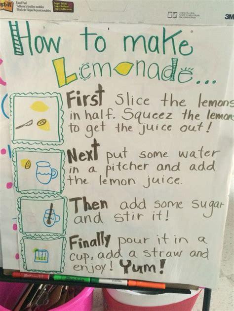 writing    lemonade anchor chart st grade