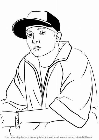 Eminem Drawing Rappers Draw Coloring Pages Easy
