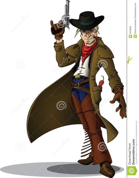 gunslinger cowboy stock illustration image  pistol