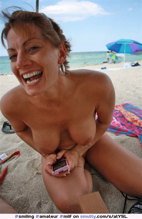 Amateur Milf Topless Beach Piercednipples Smiling