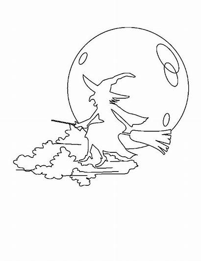 Witch Flying Coloring Silhouette Halloween Tocolor