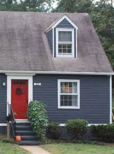 Blue with White Trim Red Door House